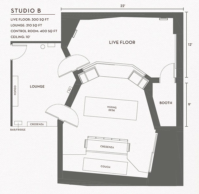 Revolution Recording Studio B Floorplan